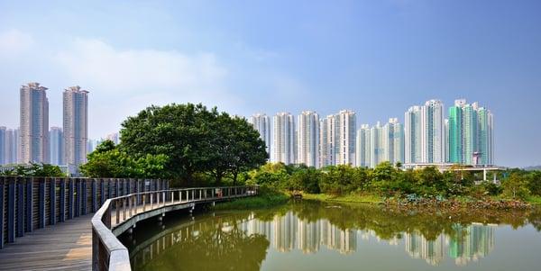 High rise apartments above Wetland Park in Hong Kong, China.